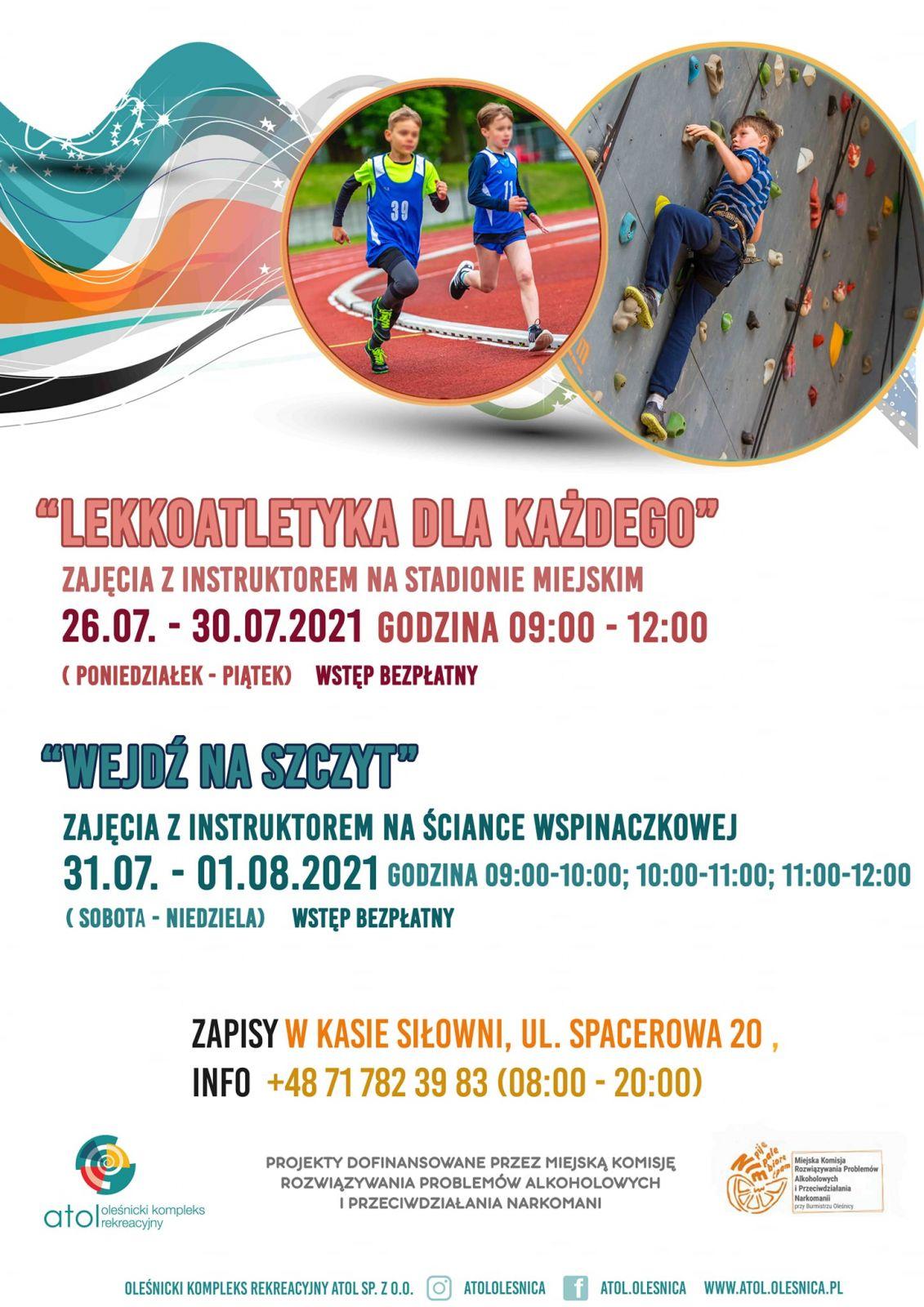 zapowiedź darmowych zajęć sportowych dla dzieci
