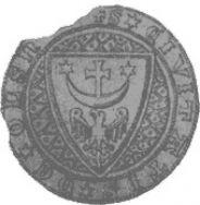 Odrys pieczęci z pierwszym herbem Oleśnicy, znanym z dokumentu z 1310 roku