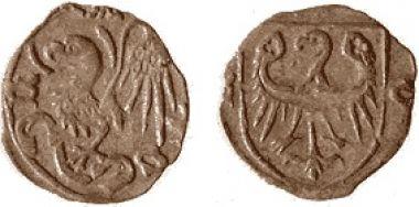 Moneta halerzowa bita w Oleśnicy ok. 1430 roku