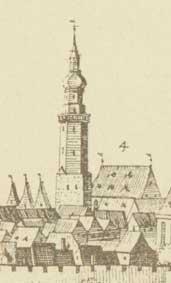 Widok ratusza (4) sprzed 1648 r. wg M. Meriana
