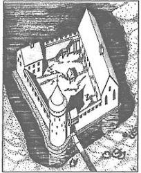 Zamek oleśnicki w XIV w. Rys. M. Przyłęcki